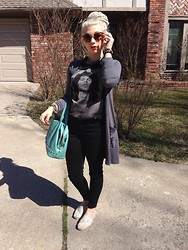 Mads Glocka - Forever 21 Jim Morrison Sleeveless Tee, Forever 21 Black High Rise Crop Pants, Turquoise Studded Bag, Toms Crochet, Gray Cardigan - No ones gonna take my soul away