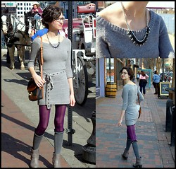 Katie V. - Forever 21 Sweater Dress, Nordstrom Studded Necklace - Downtown Rocker Chic