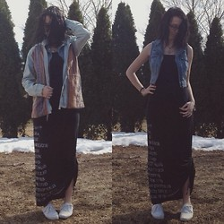 Samantha Keefe - Forever 21 Tribal Denim Jacket, Hang Ten Tube Quote Maxi Dress, Candies Denim Vest - First day of spring