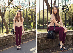 Emma Istvanffy - New Yorker Lace Top, Zara Burgundy Pants, Pull & Bear Jelly Shoes, Persun Bag, Zerouv Sunnies - Cherry Blossom