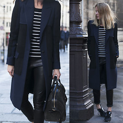 Oraclefox . - Camilla & Marc Coat, Louis Vuitton Bag, Batm Stripe Top, Iris & Ink Leather Pants - In Between