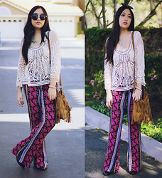 Kelsey Nguyen - Lulu's Pants, Urban Outfitters Crochet Top, Brandy Melville Usa Fringe Bag, Easy Pickins Black Booties, Forever 21 Necklace - BOHEME