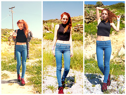 S.t.e.f.f.i.e - Bershka Crop Top, Bershka Blue Jeans, Ebay Creepers - Morning is here