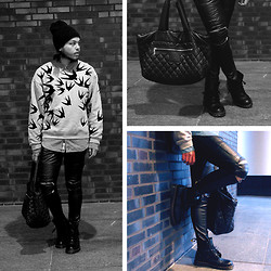 Juliën Amatkarijo - Alexander Mcqueen Sweater, Chanel Cocoon Bag, Dr. Martens Boots, Zara Zipped Leather Pants, Acne Studios Denim Shirt - Leather and Zippers