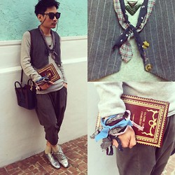SOMAD • MATTHEW • 蘇柏傑 - Vintage Vest, Topman Top, Céline Nano Bag, Comme Des Garçons Pants, Undercover Hand Scarf, Undercover Neck Scarf, Toga Necklace, Vintage Book Clutch, Karen Walker Eyewear, Neil Barrette Shoes - Boy with Nano