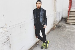 Ishmail Soto - H&M Leather Jacket, Calvin Klein Textured Button Up, Diy Distressed Denim, Nike Neon Sneakers - You're not the one.