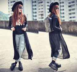 Tess Lively - Adore Closet Long Cardi, Choies Jeans, Choies Backpack - The secret