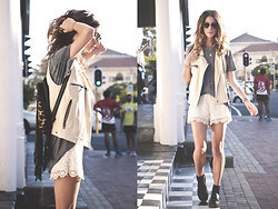 Kiara Schwartz - Chaser Vest, Blu Pepper Shorts, Cleobella Backpack - Sun Leak