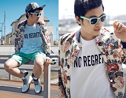 KIKO CAGAYAT - No Regrets Shirt, H&M Sunnies, H&M Cap, Ralph Lauren Shorts, Choies Men`S Floral Print Bomber Jacket In Beige, - Just love....
