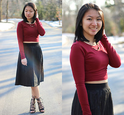 Christina Lau - Forever 21 Crop Top, Asos Midi Skirt, Go Jane Lace Up Heels - Faux Leather Midi Skirt