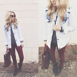 Mary Ellen Skye - Modern Vice Boots, Juicy Couture Jeans, Madewell Denim Shirt, Madewell Bag - Washed out