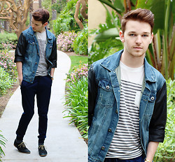 Drew Scott - Forever 21 Denim Leather Jacket, Foreign Exchange Striped Tee, Zara Cuffed Trousers, Aldo Black Suede Oxfords - Walking on a Dream