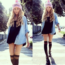 Jasmine White - Jawbreaking I Woke Up Like This Beanie In Pink, H&M Oversized Blue Shirt, Brandy Melville Usa Jada Black Dress, Asos Black Knee High Socks, Jeffrey Campbell Coltrane Boots - I woke up like this (FLAWLESS)