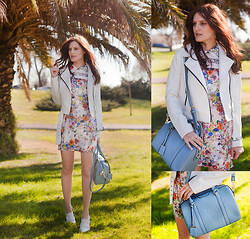 Viktoriya Sener - Bb Dakota White Jacket, In Love With Fashion Floral Dress, Persun Bag, Braska Brogues - PIECE OF SUMMER