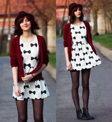 Nora Aradi - H&M Cardigan, Asos Boots, Choies Dress, H&M Hat - Bows all around
