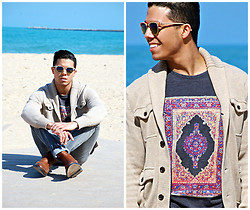 Matthew Woppel - Ray Ban Sunglasses, Gap Sweater, Globe T Shirt, Bdg Jeans, All Saints Boots - Globe x Beach