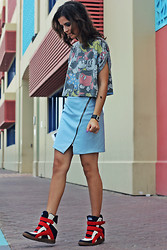 Susanna Vesna - Atmosphere Cropped Mickey Mouse Top, Zara Faux Leather Skirt, Dkny Watch, Buffalo Wedged Sneakers - Cartoons