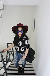 Celine Kwan - Missguided Floral Dress, Topshop Hayden Boyfriend Jeans, Vagabond Platform Boots - Floppy hats and ripped jeans