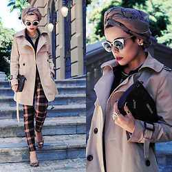 Priscila Diniz - Accessories, Turban, Tartan Pants, Trench Coat - Then I trip upon myself and Ifall,I Istand up,and then Im ok