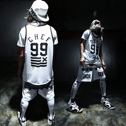INWON LEE - Dope Chef Sleeveless, Under Crown Shorts, Nike Air Jordan 5, Pyrex Knee Socks - Deep in white