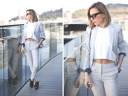 My Showroom Priscila - Zara Suit, Zara Top, Jessica Simpson Shoes, Zerouv Sunnies - Grey Suit