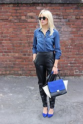Charlotte Lewis - Missguided Leather Tailored Trousers, Marks And Spencer Cobalt Blue Suede Heels, Céline Celine Trapeze Bag, Zerouv Wayfarers - Leather and denim | Nicole x Missguided