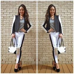 Kimberly Kong - Helmut Lang Blazer, Chicnova Necklace, The Girl That Loves Tee, Rock & Republic Jeans, Chanel Bag, Candie's Shoes - The Minimalist