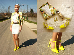 EbonyVintage Nahoot - Bershka Lace Skirt, Frontrowshop Carved Blouse, Choies Floral Blazer, Oasap Neon Shoes, Sheinside Earrings, Sheinside Belt - Spring in neon green