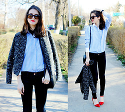 Alina Krasnaya - H&M Jacket, Pull & Bear Heels, Zara Shirt, Ray Ban Glasses - SPRING EMPHASIS