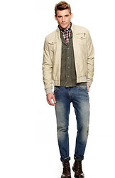 Eric M - Ralph Lauren Tan Jacket, Faded Glory Olive Green Sweater, Lucky Faded Jeans - The Inn Crowd