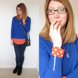 Emily L - Kyusu Glasses, Warehouse Textured Knit, Topshop Polka Dot Shirt, Topshop Leigh Jeans, Primark Boots, Kate Spade Bow Ring, Asos Mini Satchel - Glass Heart