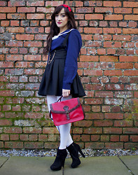 Charlotte Clothier - Claires Red Hair Bow, Joules Nautical Blouse, Oasap Black High Waisted Skirt, Rings And Tings Collar Tip, Vintage Red Bag, Miss Selfridge Black Boots - Ahoy!