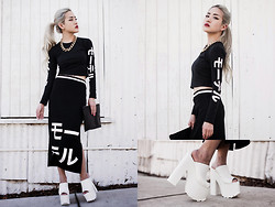 Eugénie Grey - Motel Bonnie Long Sleeve Crop In Black Japanese Writing, Motel Bobbie Midi Skirt In Black Japanese Writing, Yru Dream Platform Mule - Shinigami