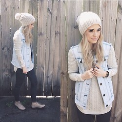 Mary Ellen Skye - Halogen Shoes, Forever 21 Denim Vest, Anthropologie Sweater, Free People Thermal, H&M Hat - Meet in the middle