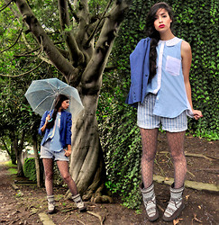 Aquarela FC - Mango Blue Blazer, U M Hand Decorated Shirt, Cheap Monday Stipped Shorts, Ethnic Boots - Dancing with the naTuRe..