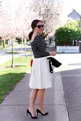 Alexandra G. - H&M Striped Shirt, Obakki Pleated Skirt, J. Crew Suede Pumps, Mary Nichols Leather Bag - Classic Parisian