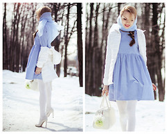 Tini Tani - Sheinside Dress, Befree Jacket, Zara Heels, Bershka Bag - Blue dress