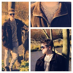 Euan McLaren - Topman Jumper, Maine, New England Brown Corduroy Jacket, Cheap Monday Light Jeans, Hi Tek By Alexander Sunglasses, Dr. Martens Black Boots - Ranchin' out