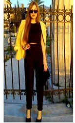 Maria Pasiali - Bershka Black Crop Top, Zara Black Classic Pants, Mara Black High Heels, Yellow Blazer, Ray Ban Sunglasses - Spring mood..