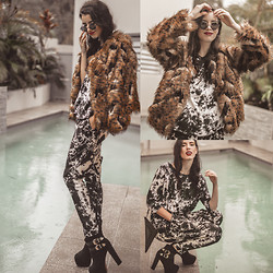 Elle-May Leckenby - Tye Die Two Piece Set, No Animal Hurt   Faux Fur Jacket - Poolside - Slow down
