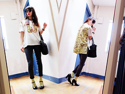 Barbara Malewicz - Eleven Paris Teesh, New Look Grey Skinny Jeans, Asos Lemon Socks, Topshop Black Leather Shoes, Chanel Sunnies - Tart yellow for a chic Run