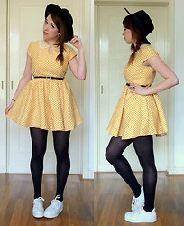 Joosje S - Primark Yellow Polkadot Lace Collared Dress, H&M Black Wide Trim Hat, Thrifted White Platform Sneakers - Spring has sprung