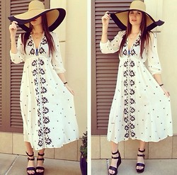 Elizabeth Anderson - Free People Embroidered Dress, Bc Footwear Black Wedge, Libby Story Floppy Hay - Circle in the sand