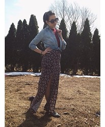 Samantha Keefe - Kohls Chambray Shirt, Forever 21 Crochet Crop Top, Rue 21 Floral Maxi Skirt - Wild flower