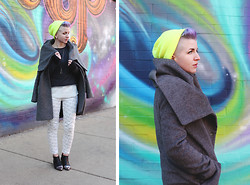 Jessie Bee - Forever 21 Skater Beanie, Zara Wollen Wraparound Coat, Urban Outfitters Pyramid Necklace, H&M Sweatshirt (Cut Off), Thrifted Sheer Tank, Nike Hyperwarm Base Layer, Levi's® Patterned Denim, Sixtyseven Acero Booties - Intergalactic