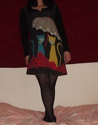 Selina - Internationale Cat And Umbrella Dress, Primark Dotty Tights - Pretty kitties