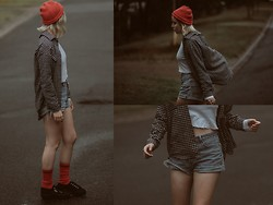 Theresa Fryer - Thrift Red Beanie, Banana Flanno, Thrift Store Denim Shorts, Bonds White Mid Drift, Passport Red Socks, Superga Black Flatforms - Fishermen's gloom