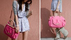 Beautybystarlet - Charlotte Russe Cardigan, Juicy Couture Bag, Steve Madden Wedged Boots, Forever 21 Romper - Pop of Pink