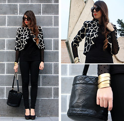 D De - Milly Jacket, H&M Pois Top, Chanel Bag, Promod Bracelet, Gucci Sunnies - Milly jacket