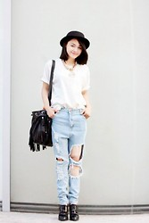 DK Hongan - H&M Fedora Hat, Suitblanco Bag - School time